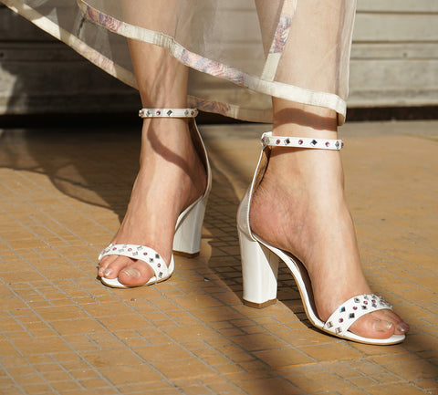 White Patent Leather Crystal Embellished Sandals