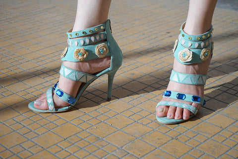 Mint Green Embellished Sandals