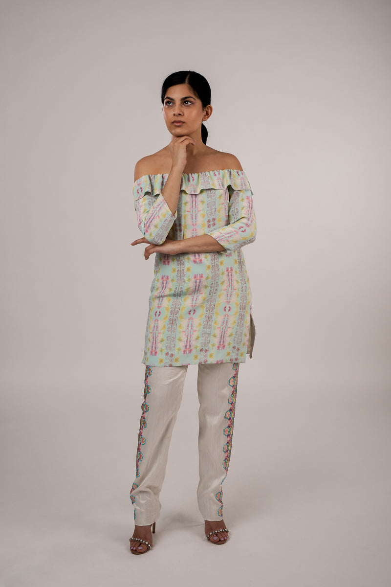 Raw Silk Embroidered Pants
