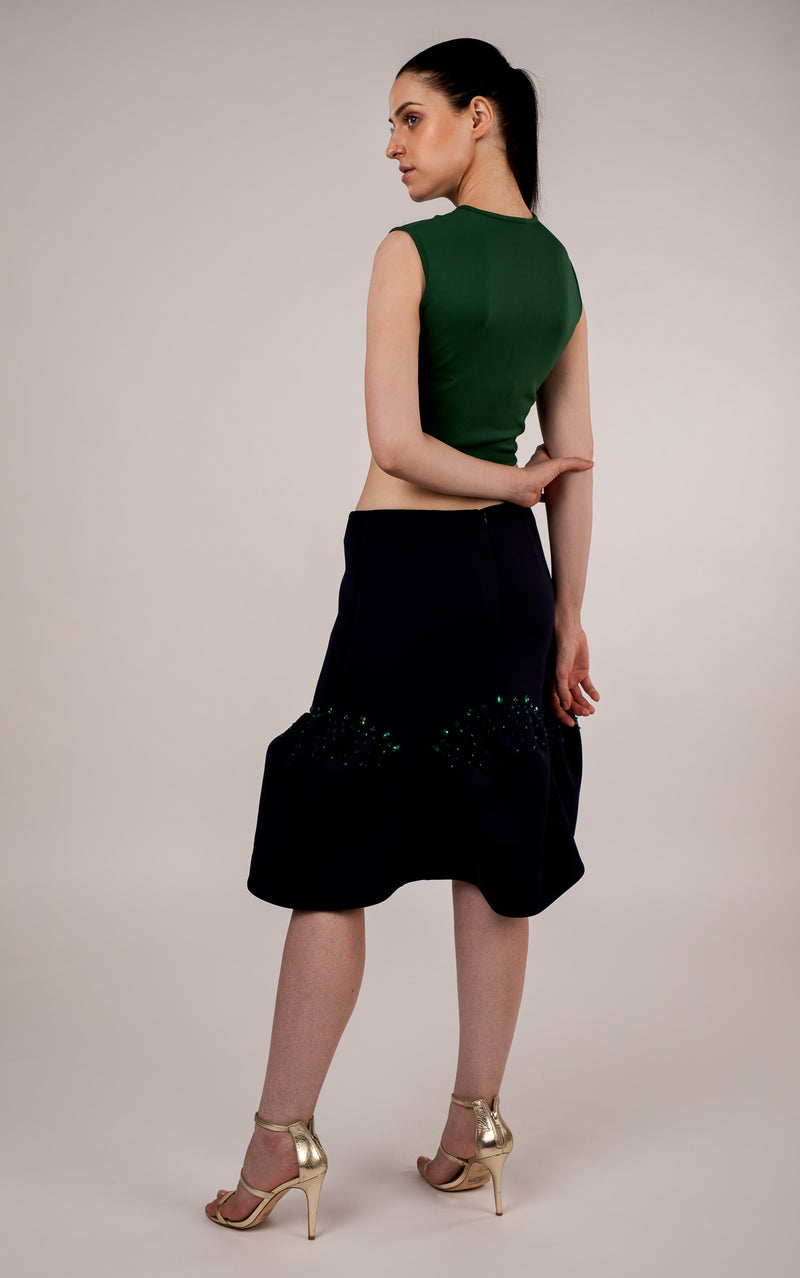 Navy Blue Scuba Skirt