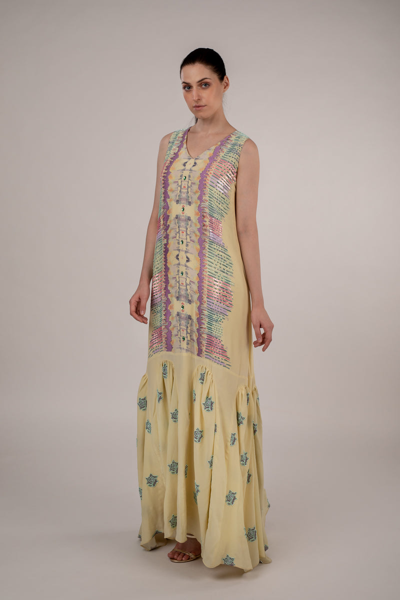 Spectrum Printed and Embroidered Dress