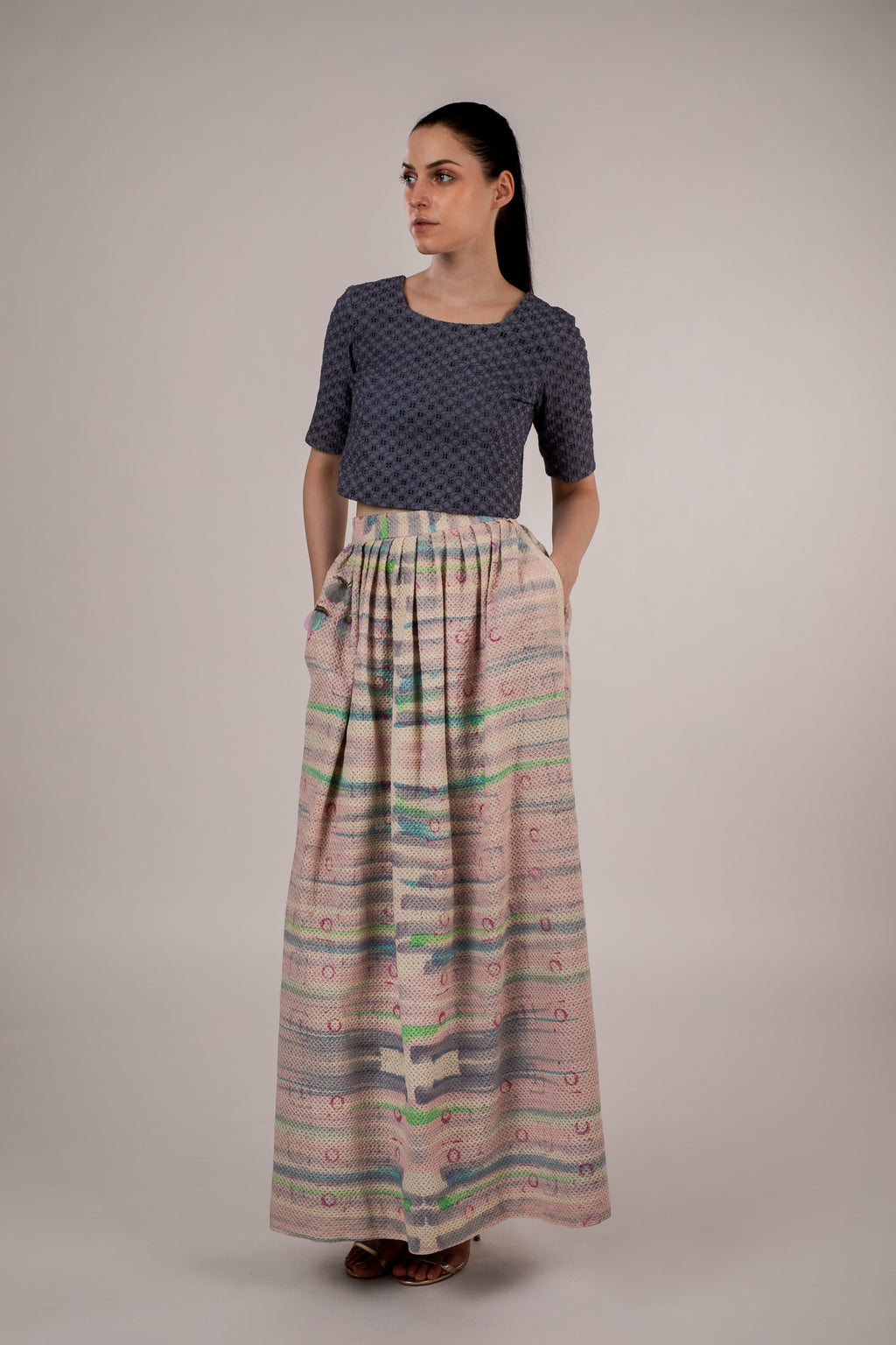 Electrified Rainbow Cotton Maxi Skirt