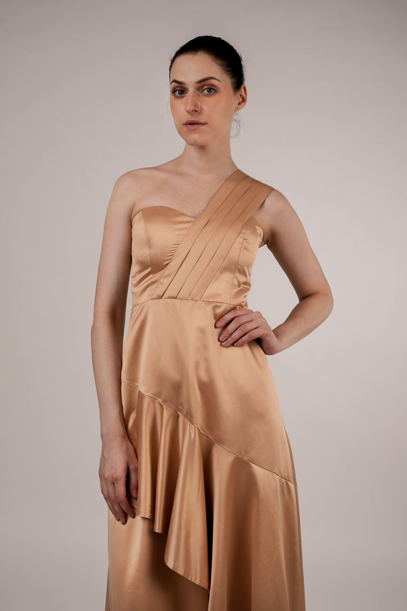 Dove Duch Satin Asymmetric Dress