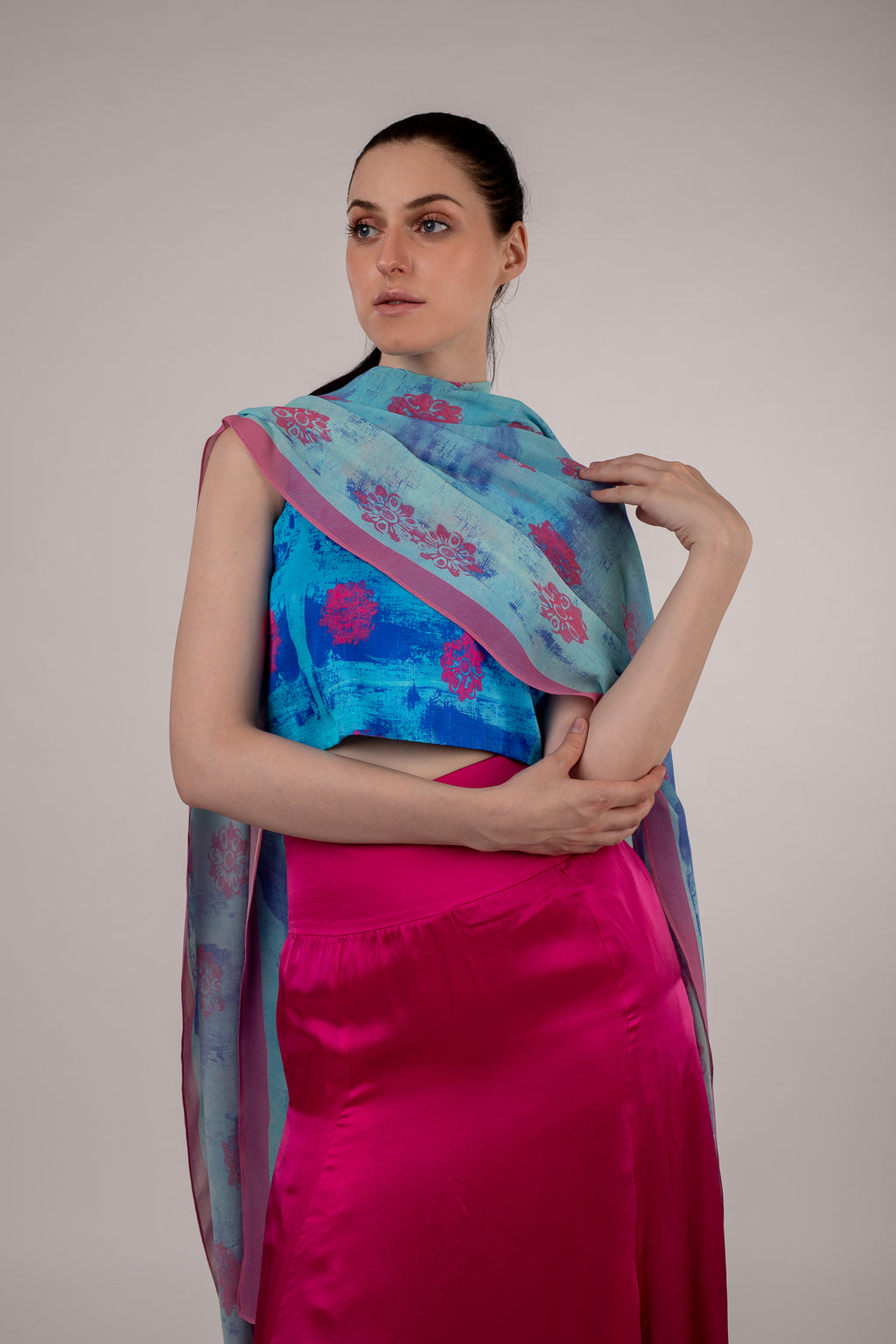 Light Blue and Pink Floral Painted Chiffon Scarf