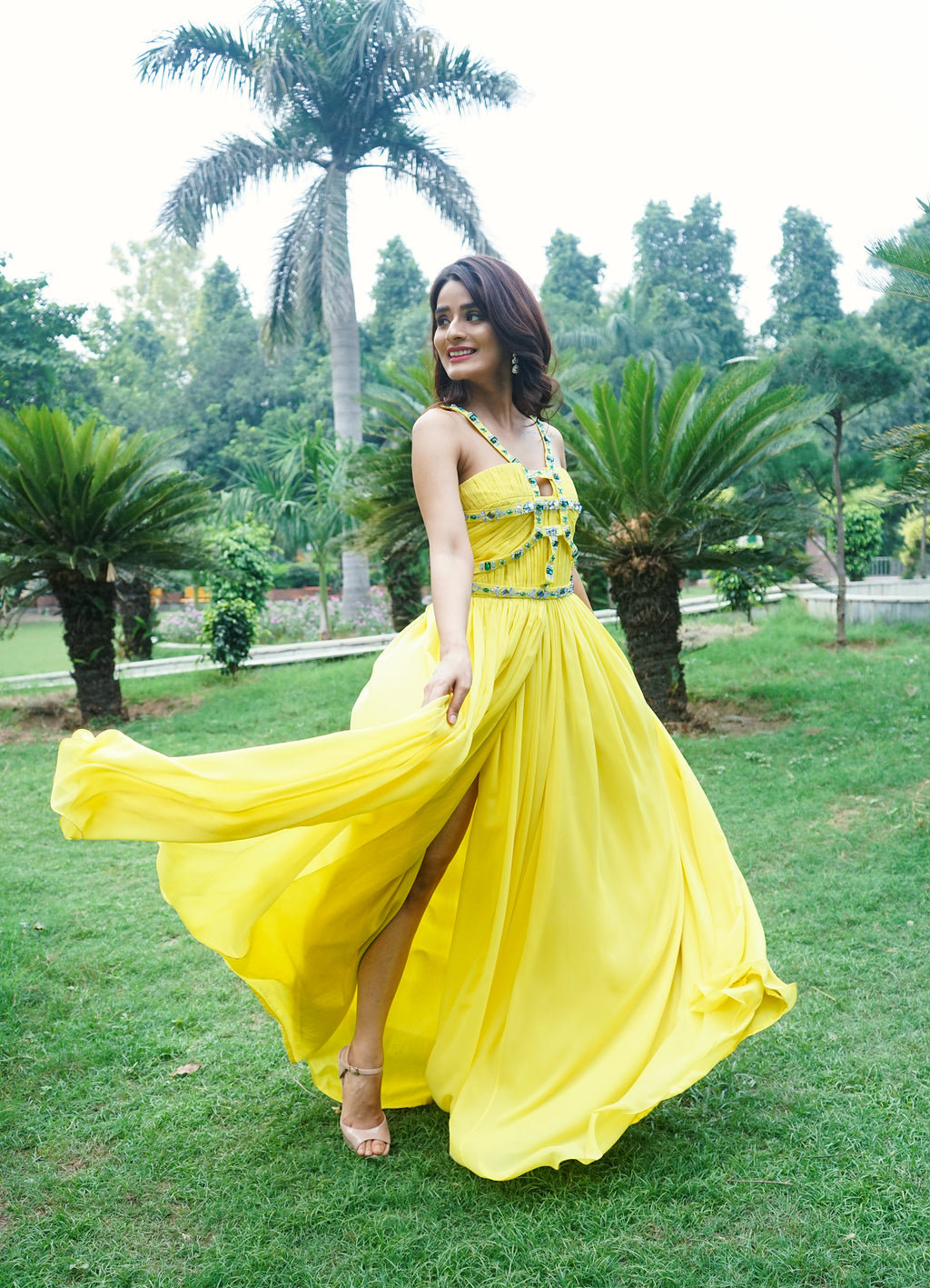 Yellow Flared Gown