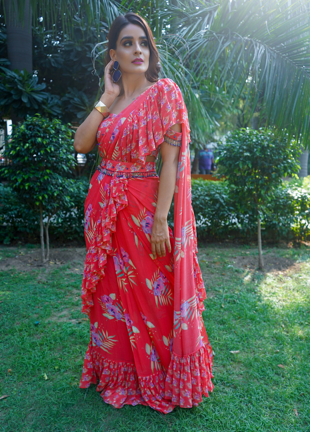 Red Stitched Off Shoulder Saree