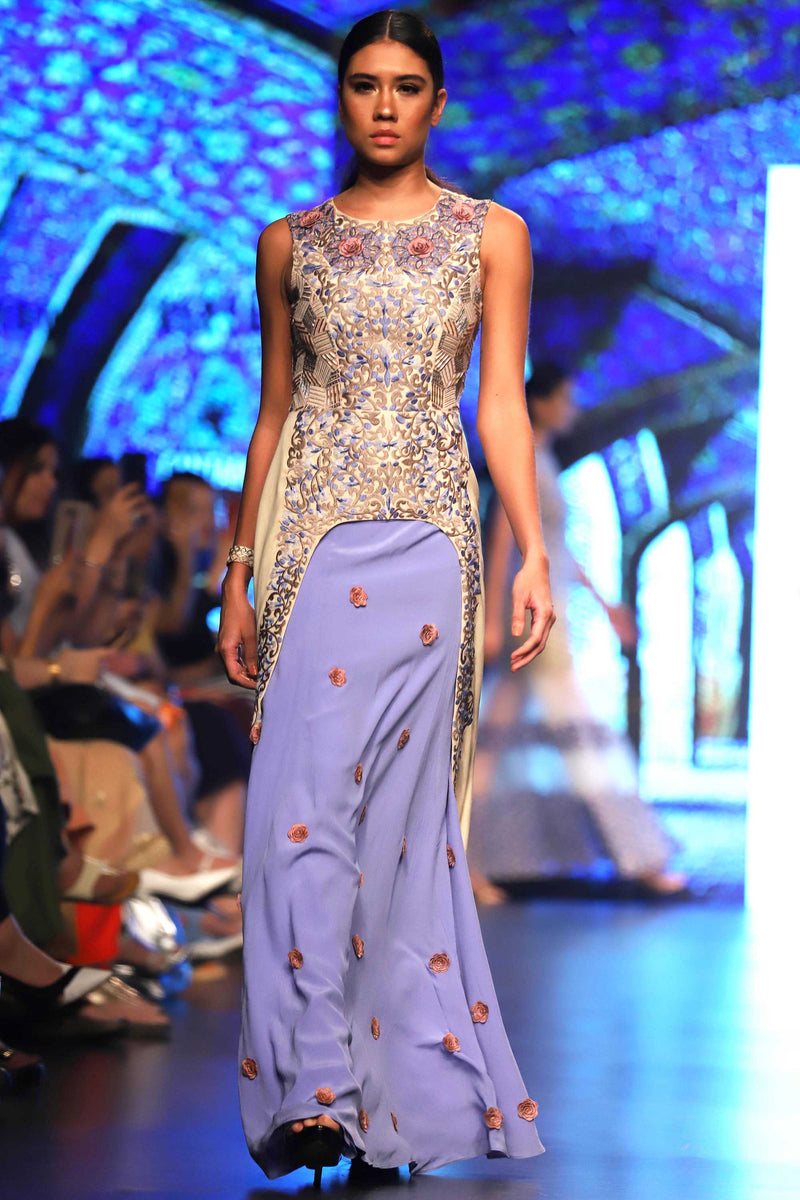 Ethereal Embroidered Long Dress with Skirt