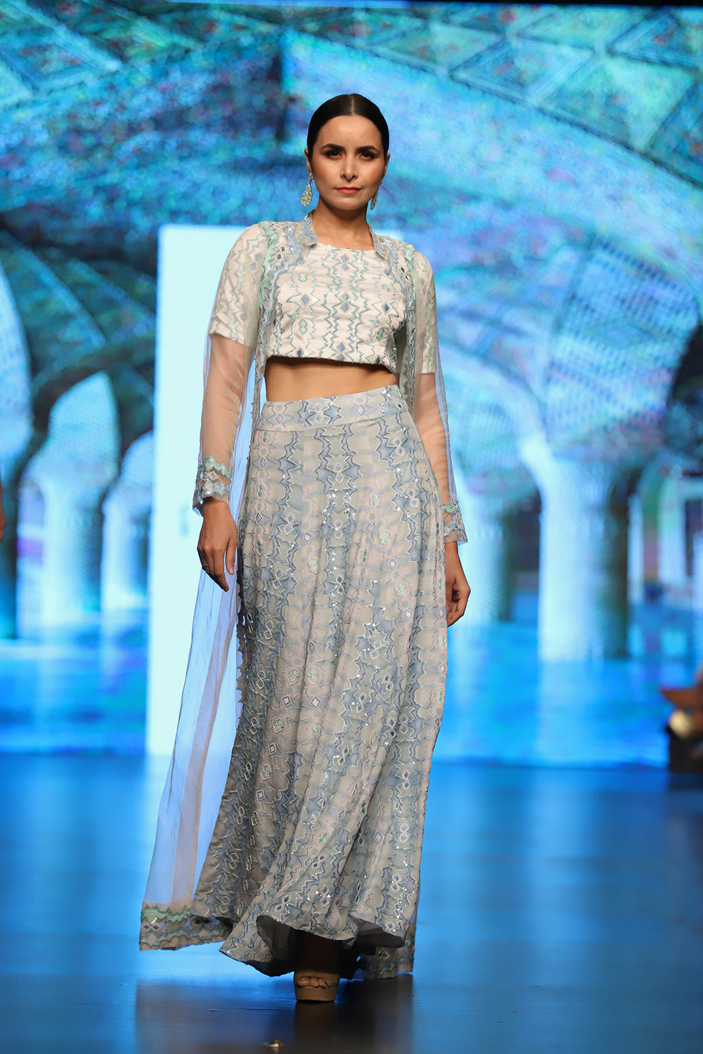 Waves in the Ocean Lehenga, Blouse and Organza Jacket