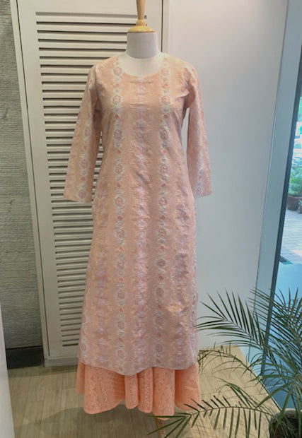 Peach Cotton Kurta and Matching Chikan Sharara
