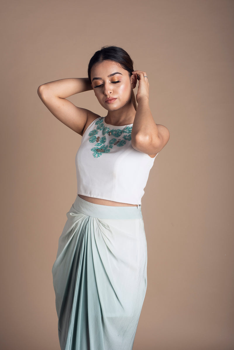 Crop Top & Draped Skirt Set