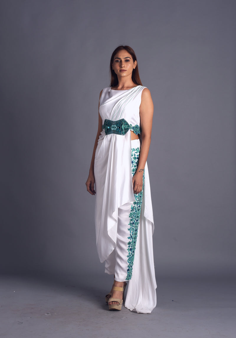 Long Draped Kurta with Embroidered Pants