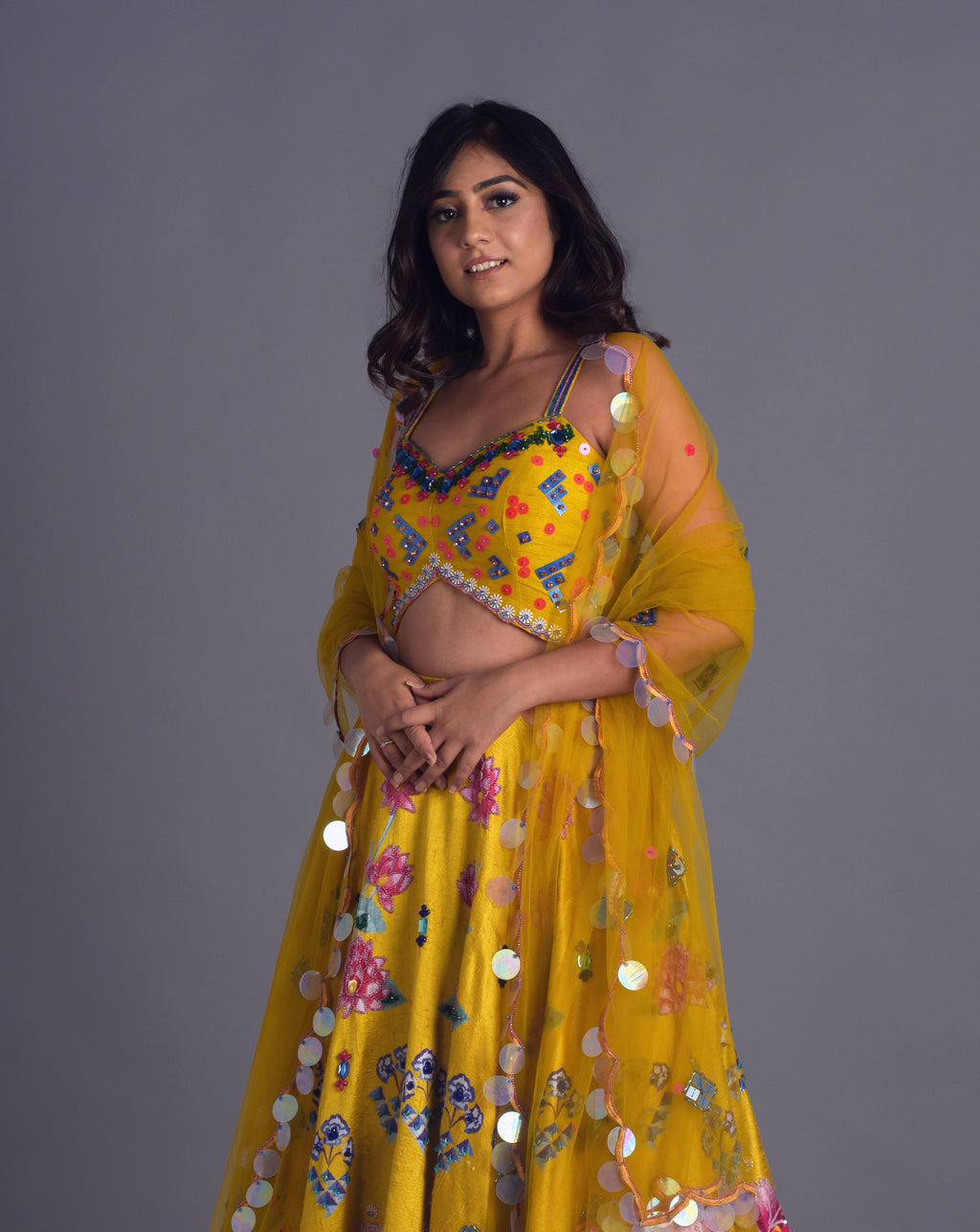 Digitally Printed Multicoloured Lehenga