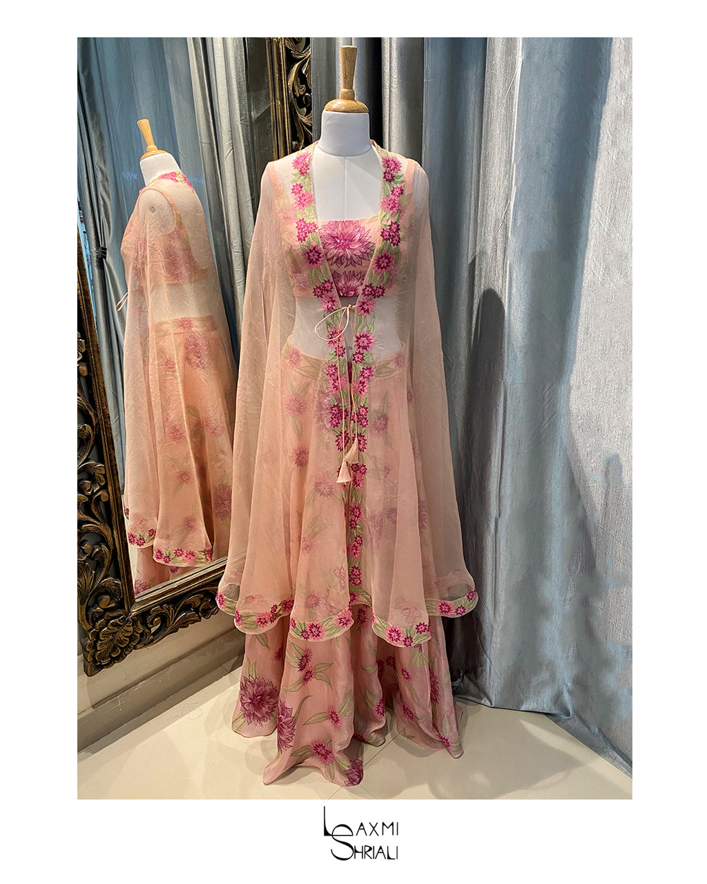 The Peach Floral Lehenga