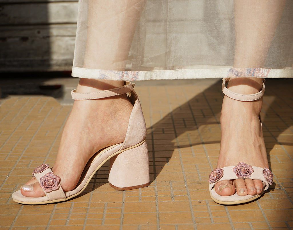 Peach Suede Block Heels with Floral Embellishments