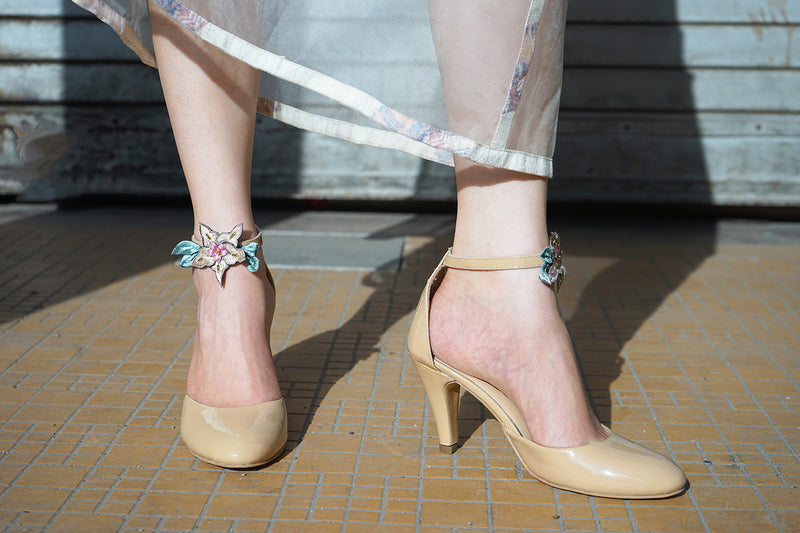 Nude Pumps with Embroidered Details