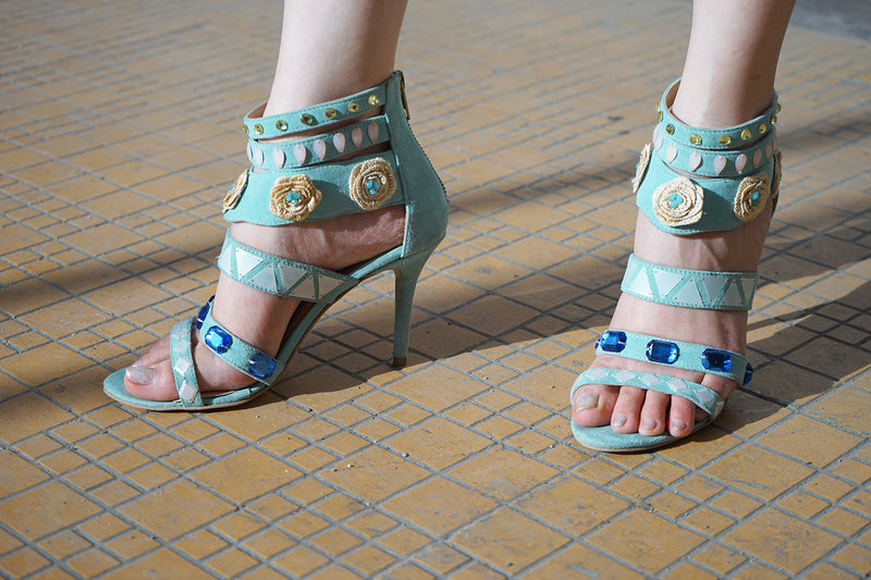 Mint Green Embellished Heels
