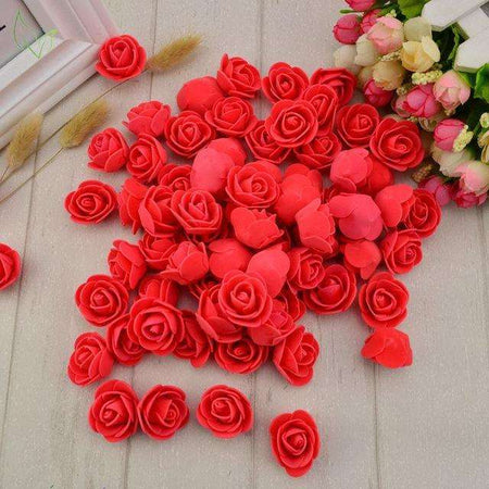 Tète de roses artificielle Scrapbooking DIY, ShopVip, Rouge