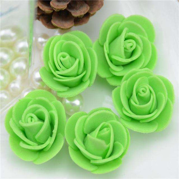 Mini tetes de roses en mousse lot de 50, ShopVip, Vert