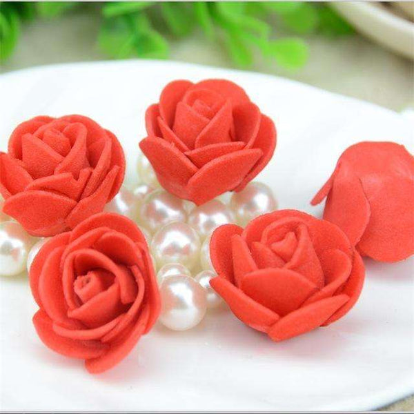 Mini tetes de roses en mousse lot de 50, ShopVip, Rouge