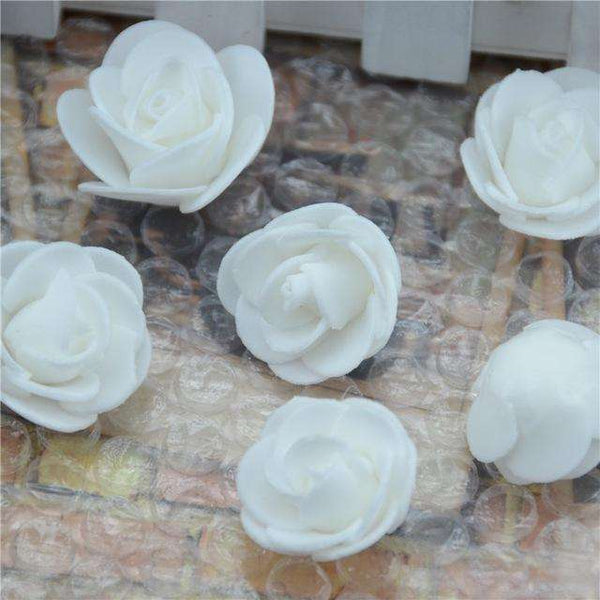 Mini tetes de roses en mousse lot de 50, ShopVip, Blanc