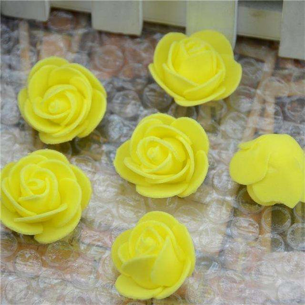 Mini tetes de roses en mousse lot de 50, ShopVip, Jaune
