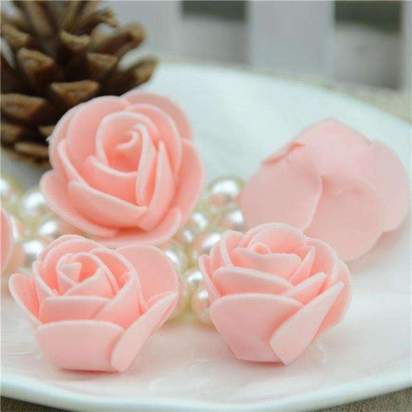 Mini tetes de roses en mousse lot de 50, ShopVip, Champagne