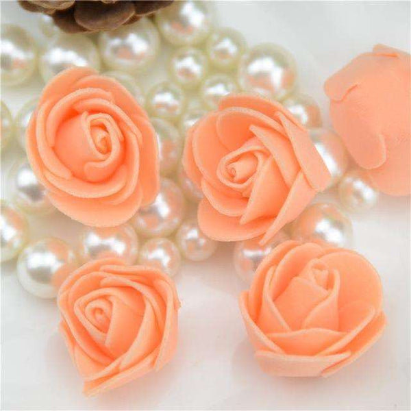 Mini tetes de roses en mousse lot de 50, ShopVip, Orange