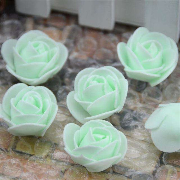 Mini tetes de roses en mousse lot de 50, ShopVip, Vert Fluo