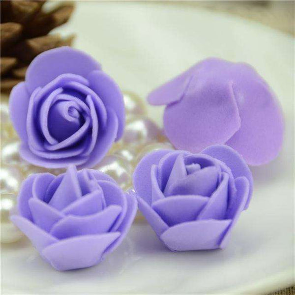 Mini tetes de roses en mousse lot de 50, ShopVip, Violet