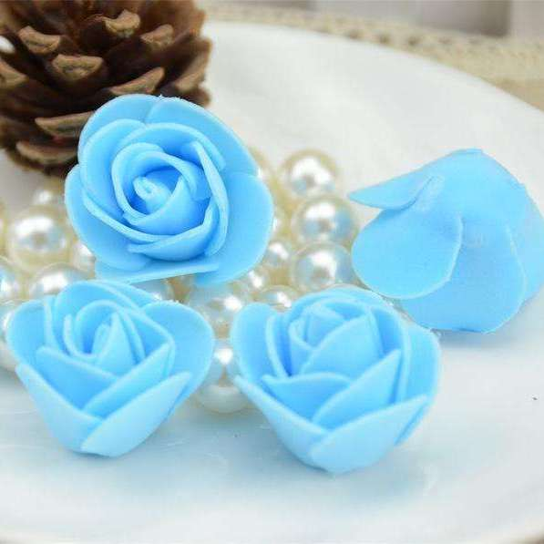 Mini tetes de roses en mousse lot de 50, ShopVip, Bleu