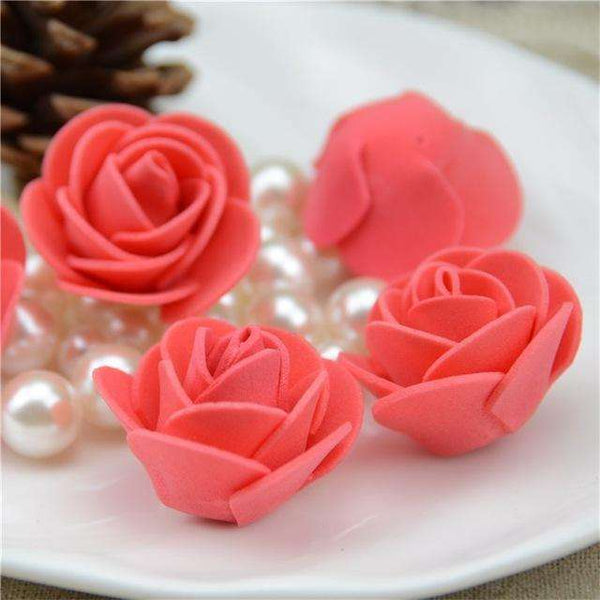 Mini tetes de roses en mousse lot de 50, ShopVip, Red
