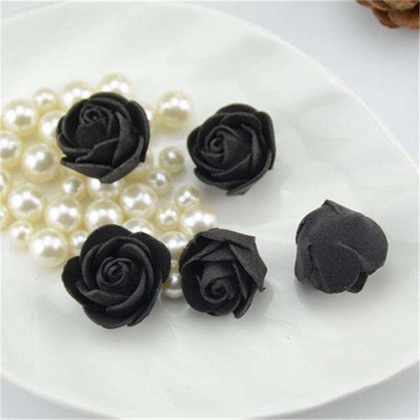 Mini tetes de roses en mousse lot de 50, ShopVip, Noir