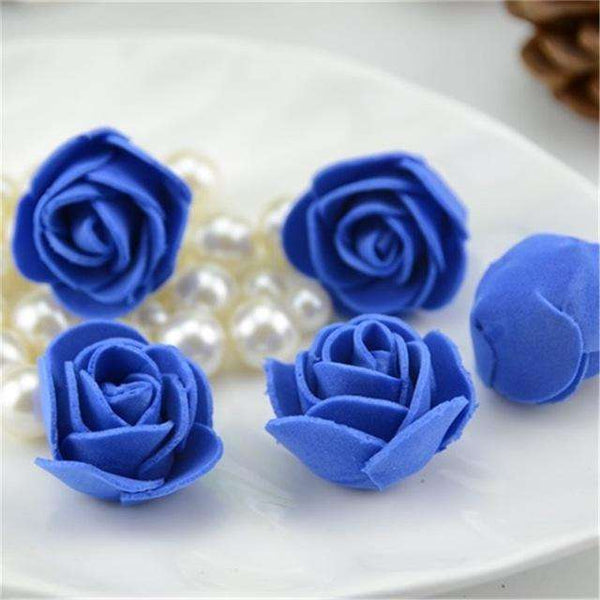 Mini tetes de roses en mousse lot de 50, ShopVip, Bleu royal