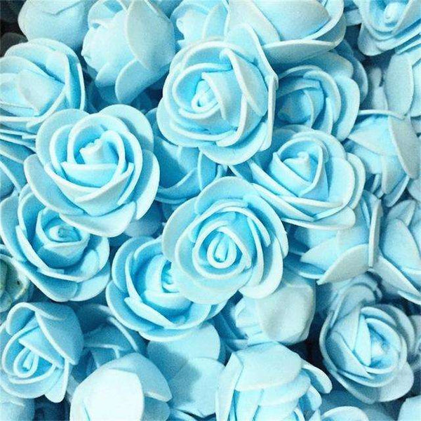 Mini tetes de roses en mousse lot de 50, ShopVip, Bleu clair