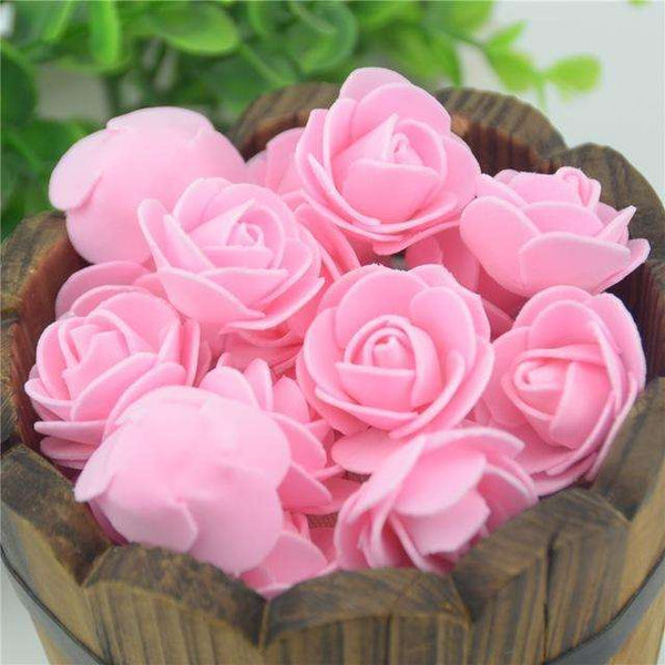 Mini tetes de roses en mousse lot de 50, ShopVip, Rose pastel