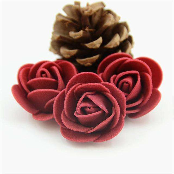 Mini tetes de roses en mousse lot de 50, ShopVip, Rouge vin