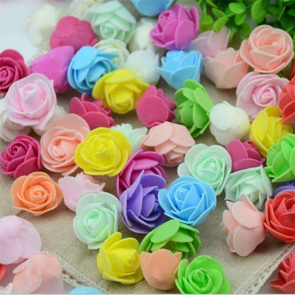 Mini tetes de roses en mousse lot de 50, ShopVip, Mix