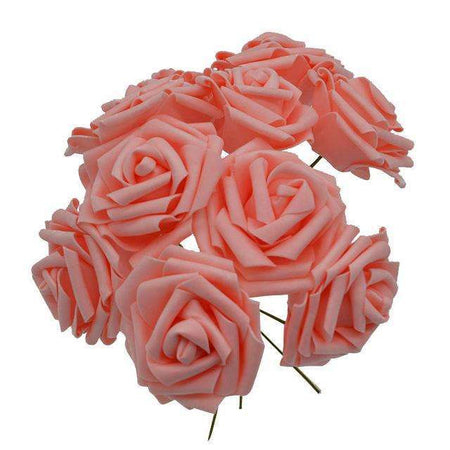 Lot de 10 roses en mousses, ShopVip, pêche
