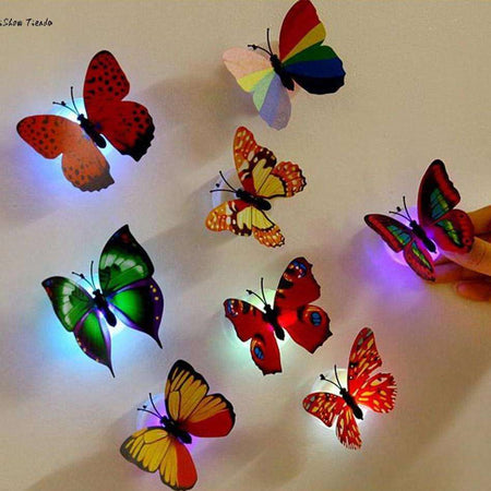 Lot de 10 papillons lumineux à coller, , ShopVip