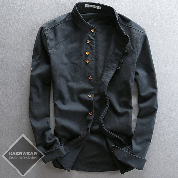 New-Age Black Linen Shirt
