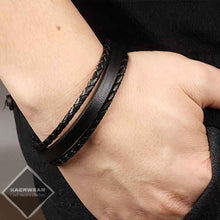 Black Cowhide Leather With Stainless Steel Men's Bracelet