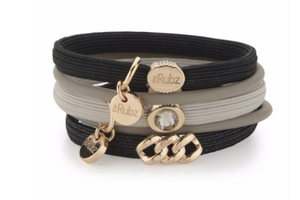 Hair Ties - Black & Sand with Soft Gold