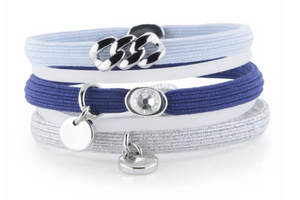 Hair Ties - Navy, Light Blue & Silver with Silver
