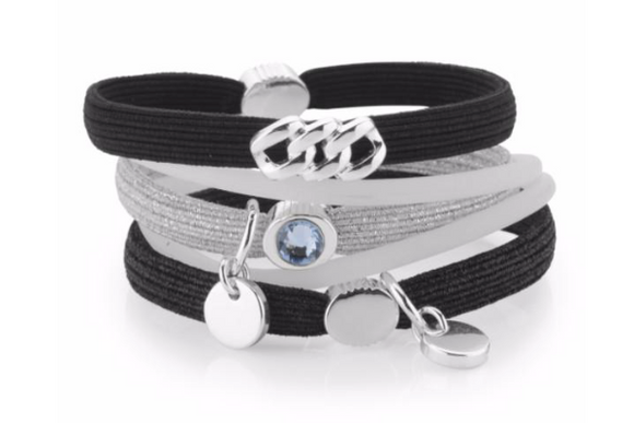 Hair Ties - Black & Silver with Platin Silver
