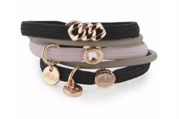 Hair Ties - Black & Rose with Rose Gold