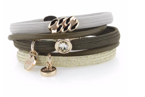 Hair Ties - Olive, Sand & Gold with Soft Gold