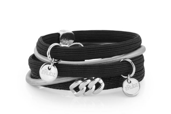Hair Ties - Black & Black Lurex with Silver