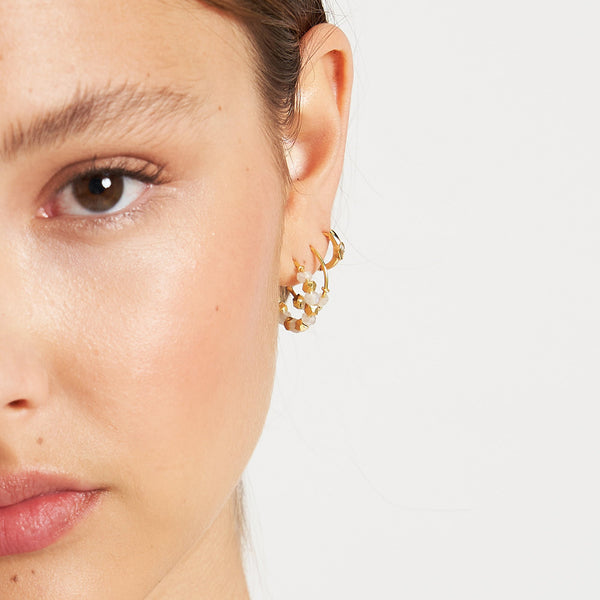 Inca Gold and Moonstone Hoop Earrings