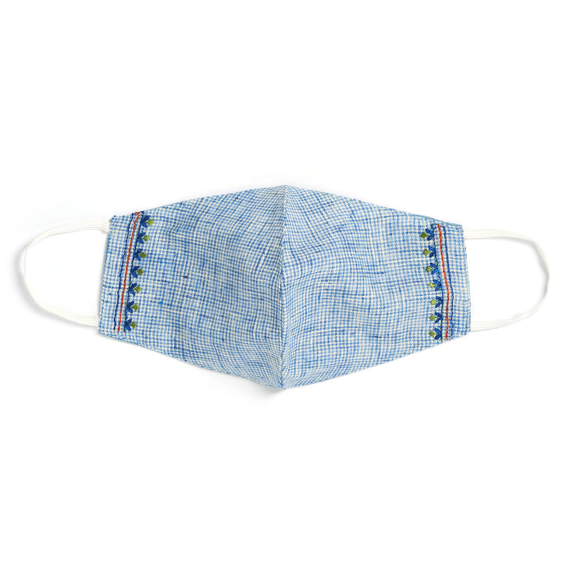 Embroidered Face Mask - Blue