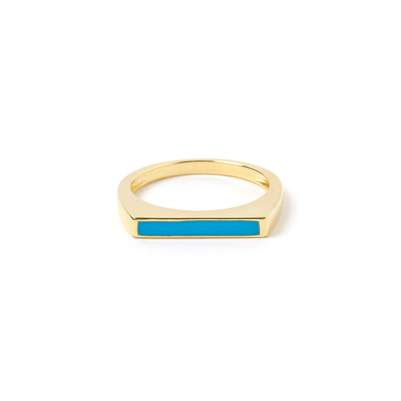 Anillo Gold and Enamel Ring - Turquoise